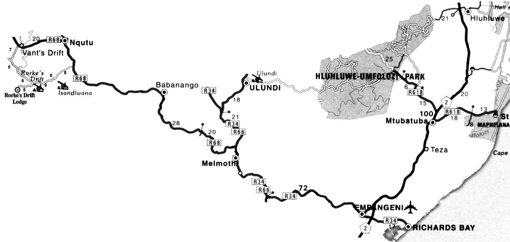 Hluhlu / Umfolozi area map